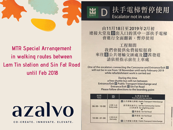 MTR Special Arrangement in walking routes between Lam Tin station and Sin Fat Road until Feb 2018